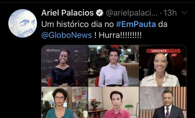 Jornalista da GloboNews, Ariel Palacios também comentou o assunto (Foto: reprodução/ Twitter)