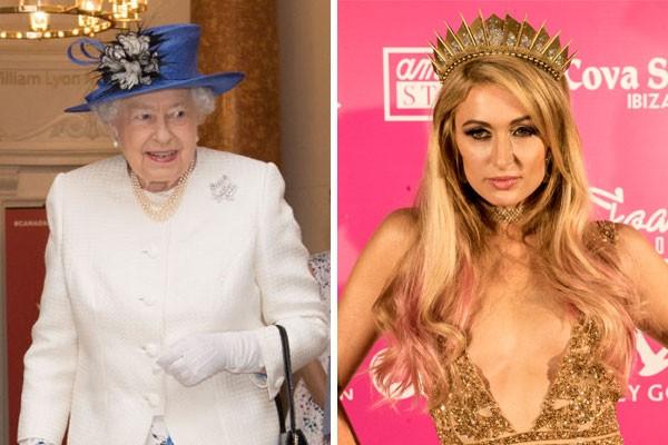 As primas de décimo primeiro grau Elizabeth II e Paris Hilton (Foto: Getty Images)