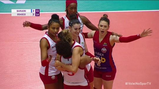Pontos finais de Barueri 2 x 3 Osasco pela Superliga de vôlei feminino