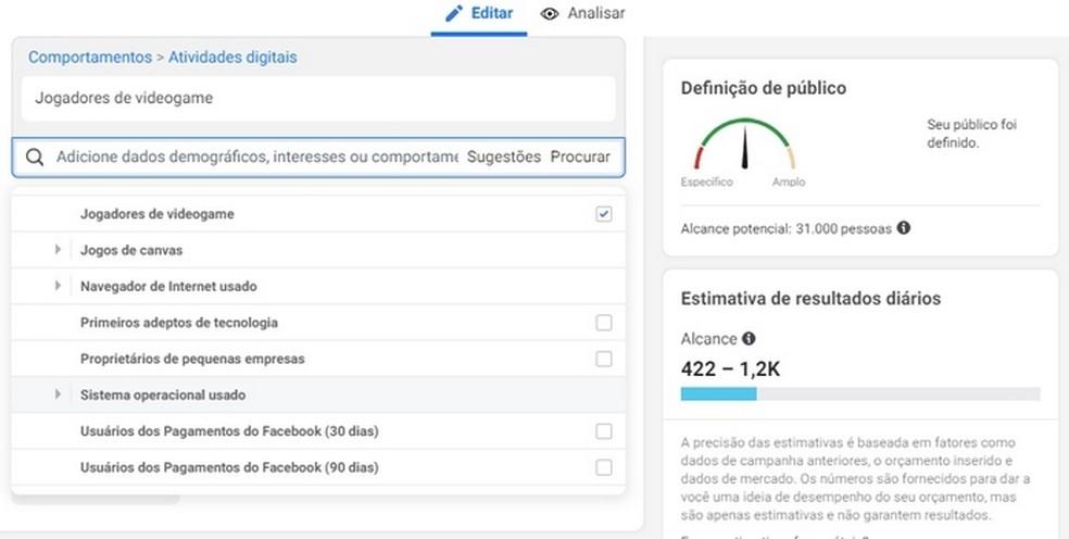 Segmentação de público-alvo no Gerenciador de Anúncios do Facebook — Foto: Reprodução/Raquel Freire