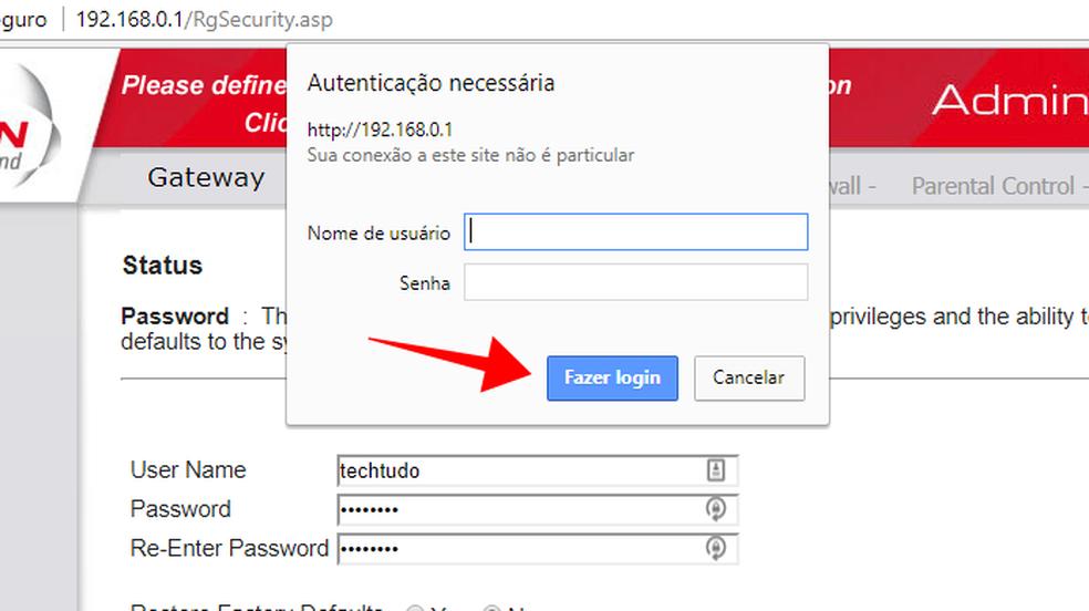 Use os novos dados de login para entrar no roteador e checar se a alteração foi salva (Foto: Reprodução/Paulo Alves)