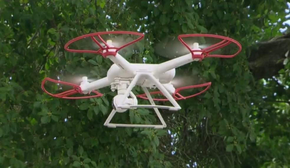 Drone observou a fuga de criminosos (Foto: Reprodução/TV Globo)