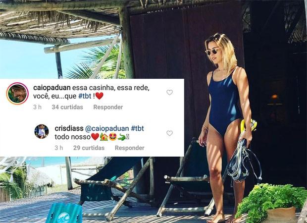 Caio Paduan e Cris Dias trocan mensagens carinhosas (Foto: Reprodução)