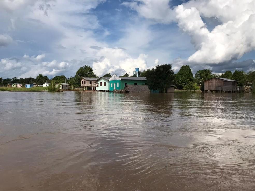 Com cheia do Rio Juruá, Porto Walter declarou calamidade pública  — Foto: Arquivo/Prefeitura
