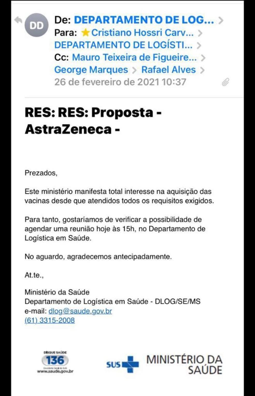 E-mail do Ministério da Saúde de resposta a proposta da Davati de venda de vacinas da Covid. — Foto: Reprodução
