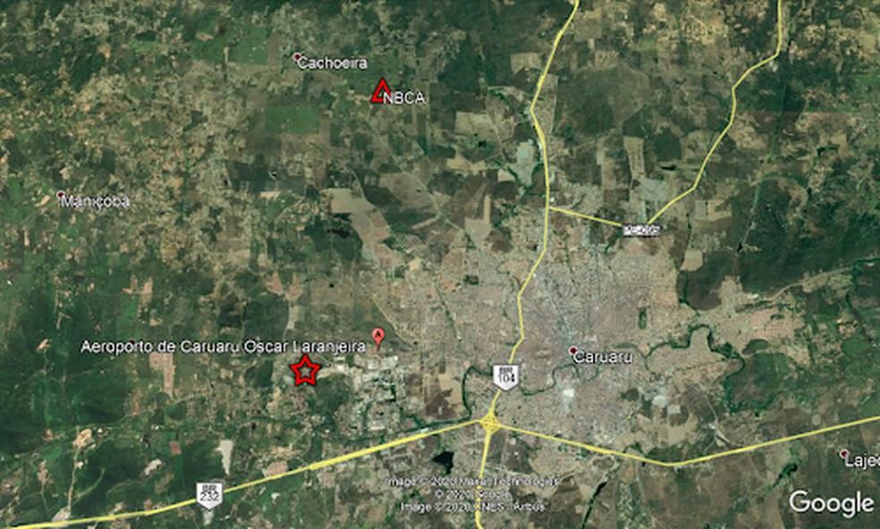 Localização do tremor registrado em Caruaru  — Foto: Foto: Laboratório de Sismologia da UFRN/ Divulgação