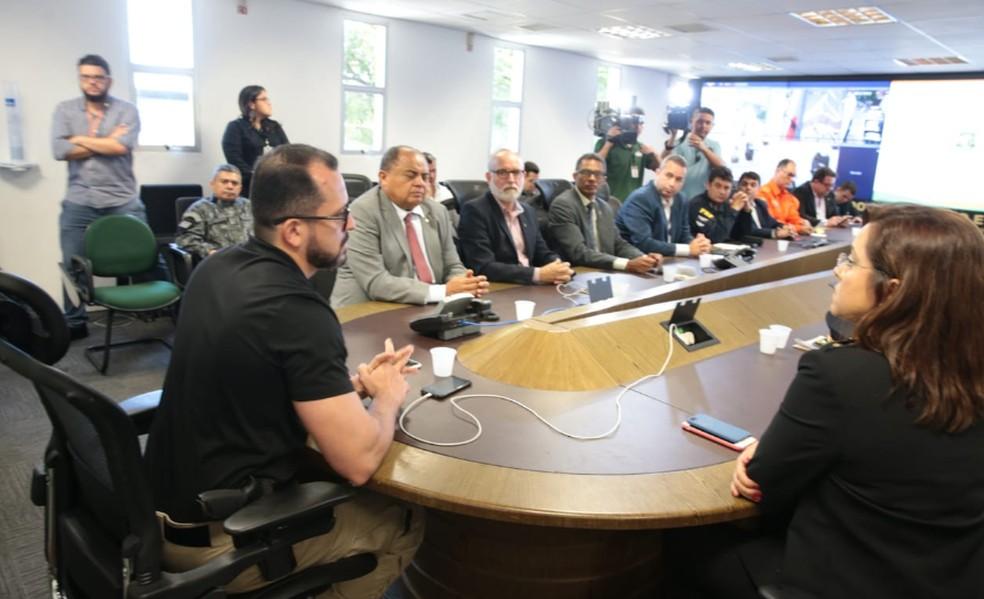 Direção da Secretaria de Segurança Pública do Ceará se reuniu para traçar medidas de combate a ações criminosas no Estado. 50 suspeitos foram detidos. — Foto: José Leomar/Diário do Nordeste