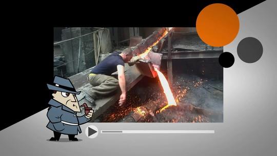 Detetive Virtual investiga metalúrgico que passa a mão em metal derretido