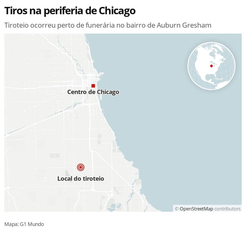 Mapa mostra local de tiroteio em Chicago, nos EUA — Foto: G1 Mundo