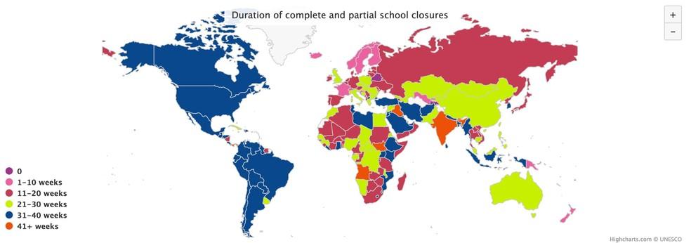 Mapa de fechamento das escolas em todo o mundo — Foto: Reprodução/Unesco