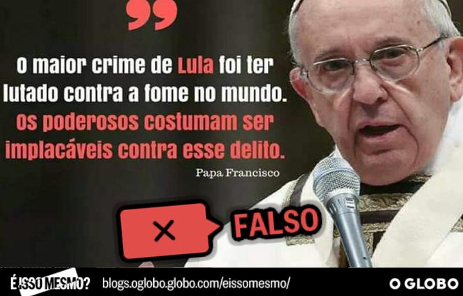 Declaração do Papa é falsa