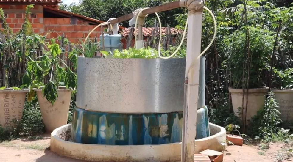 Biodigestor produz gás e esterco é reaproveitado em horta. (Foto: Reprodução/TV Clube)