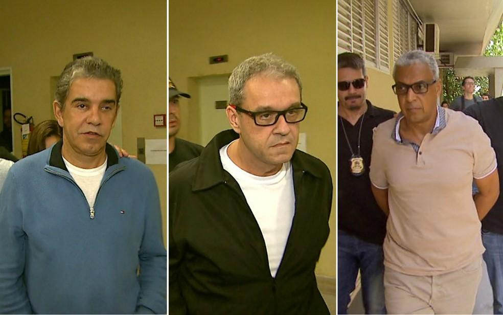 Os ex-secretários de Ribeirão Preto Layr Luchesi Junior, Ângelo Invernizzi e Marco Antônio dos Santos — Foto: Reprodução/EPTV