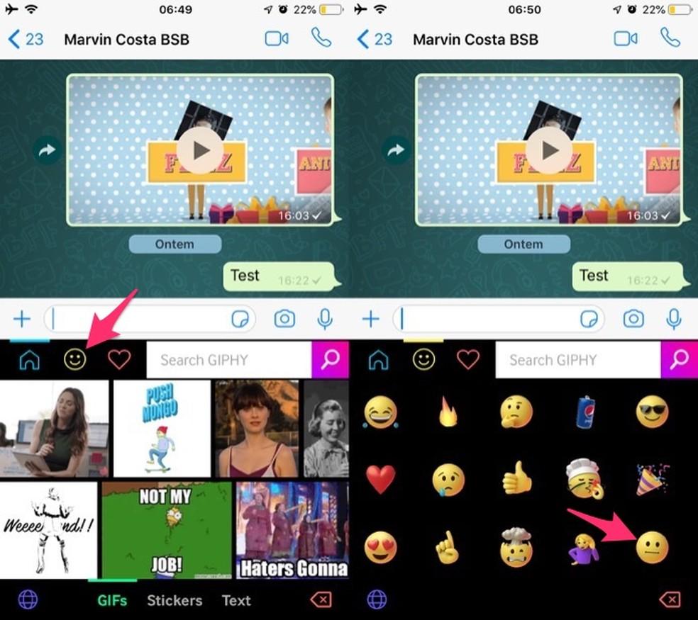 Ação para abrir a tela de compartilhamento de um emoji animado no teclado virtual do app Giphy para iPhone — Foto: Reprodução/Marvin Costa