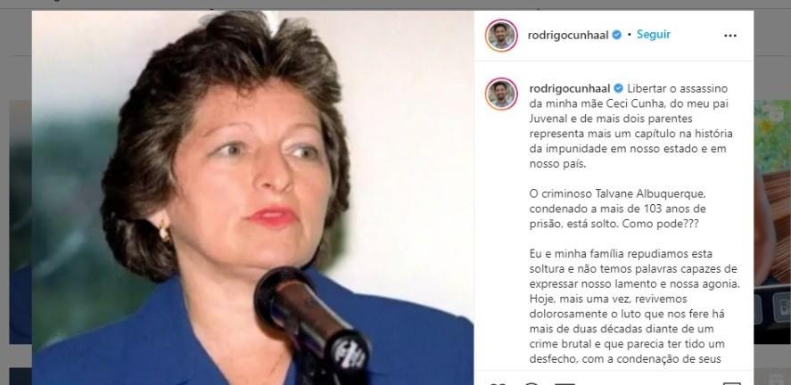 'Mais um capítulo de impunidade', diz filho de Ceci Cunha sobre soltura de Talvane Albuquerque