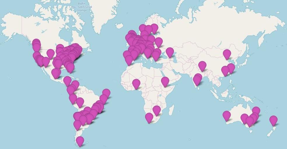 Mapa mostra os locais onde o R-Ladies está presente — Foto: Reprodução