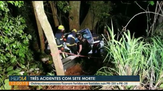 Sete pessoas morrem em três acidentes em estradas do sudoeste do Paraná