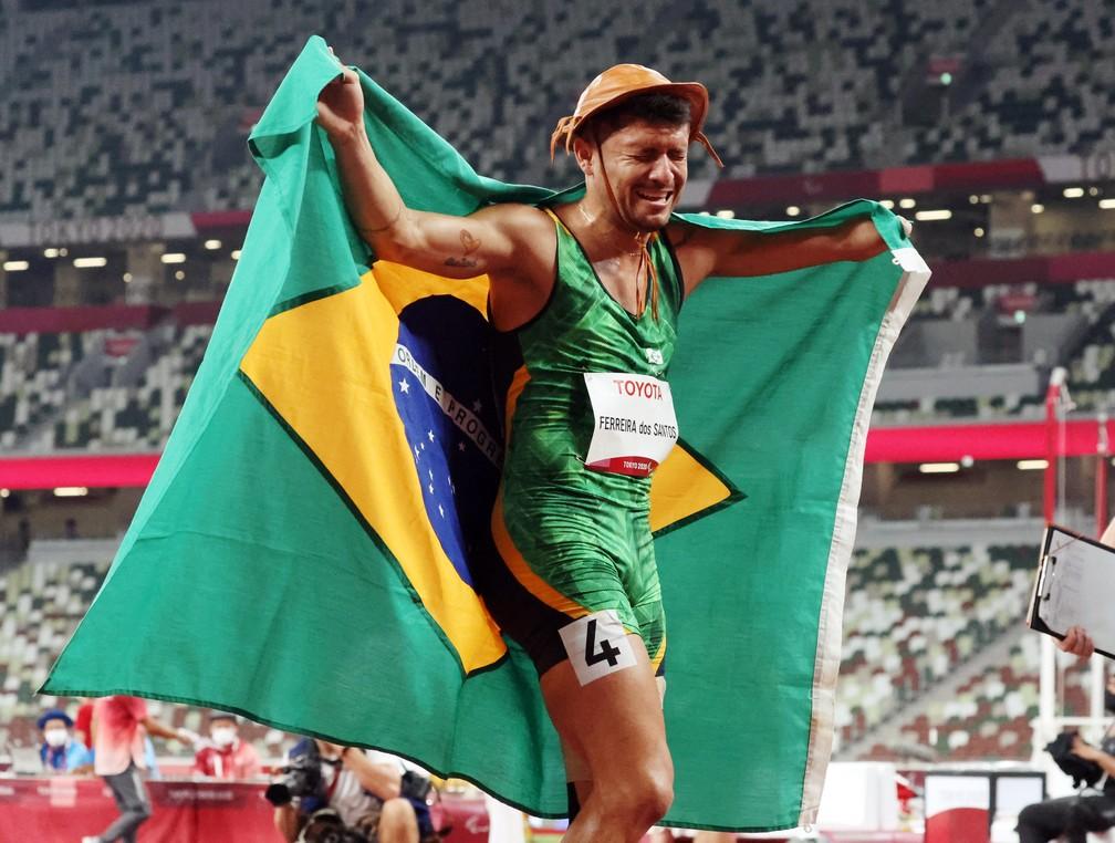 Petrúcio Ferreira ganha ouro nos 100m nas paralimpíadas — Foto: REUTERS/Ivan Alvarado