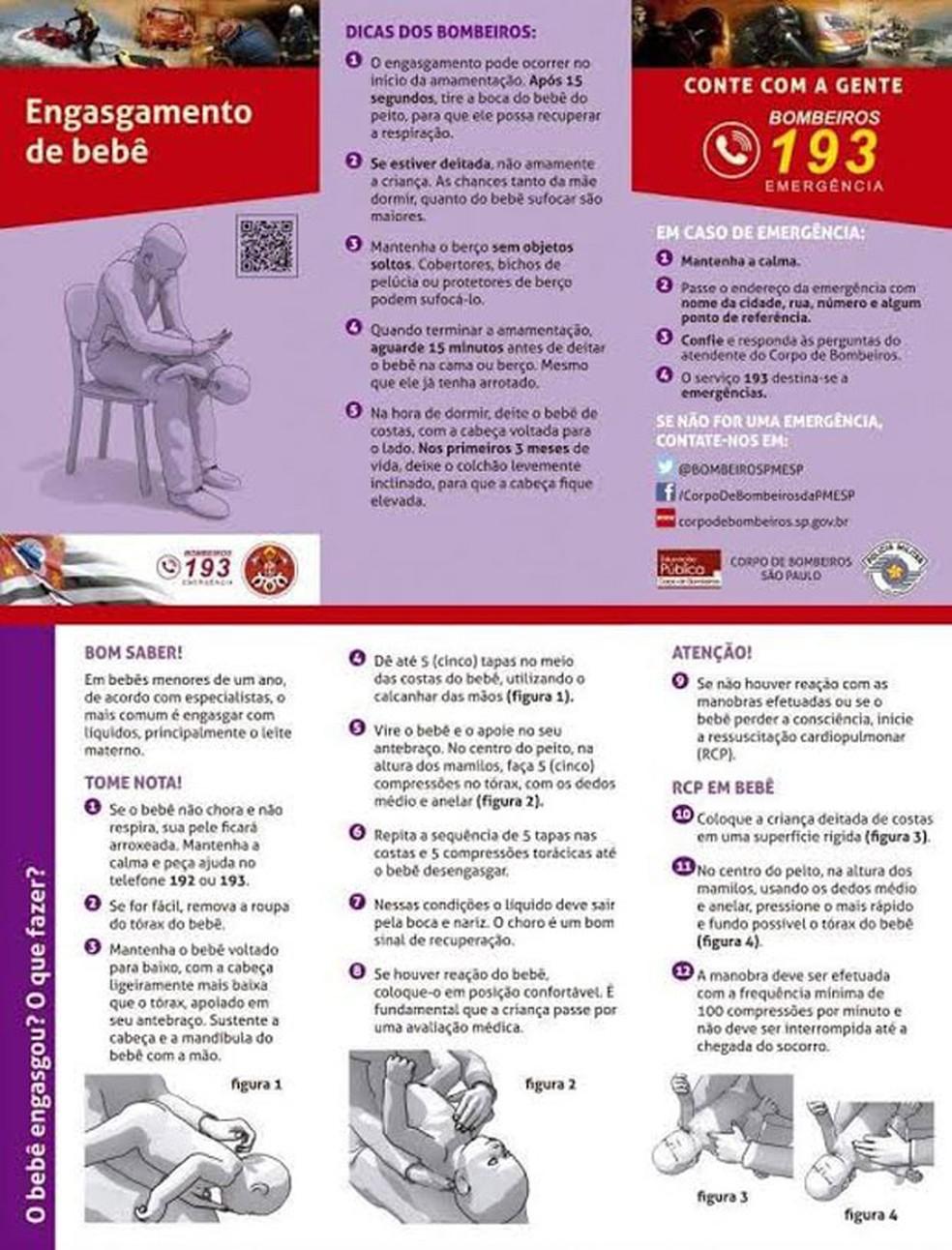Corpo de Bombeiros divulgou orientações à população sobre o atendimento a crianças (Foto: Reprodução/Corpo de Bombeiros)