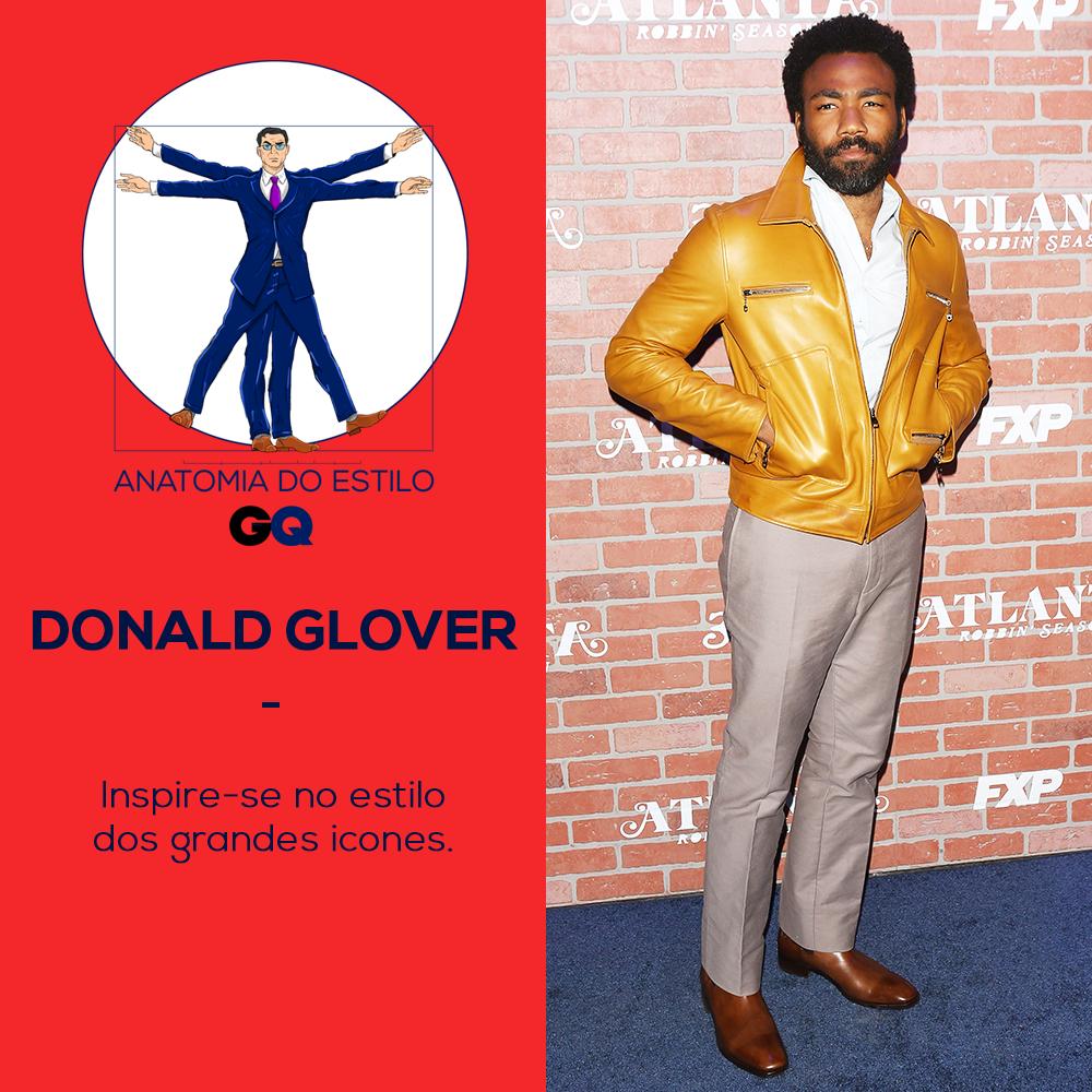 Donald Glover sustenta o visual anos 70 com muito estilo e autenticidade (Foto: Getty Images)