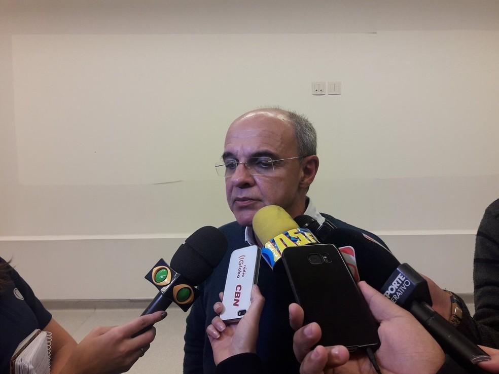 Eduardo Bandeira de Mello, presidente do Flamengo, em entrevista após a partida na Arena Corinthians (Foto: Bruno Giufrida)