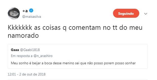 Maisa Silva responde a fã que comentou foto de seu namorado na web (Foto: Reprodução / Twitter)