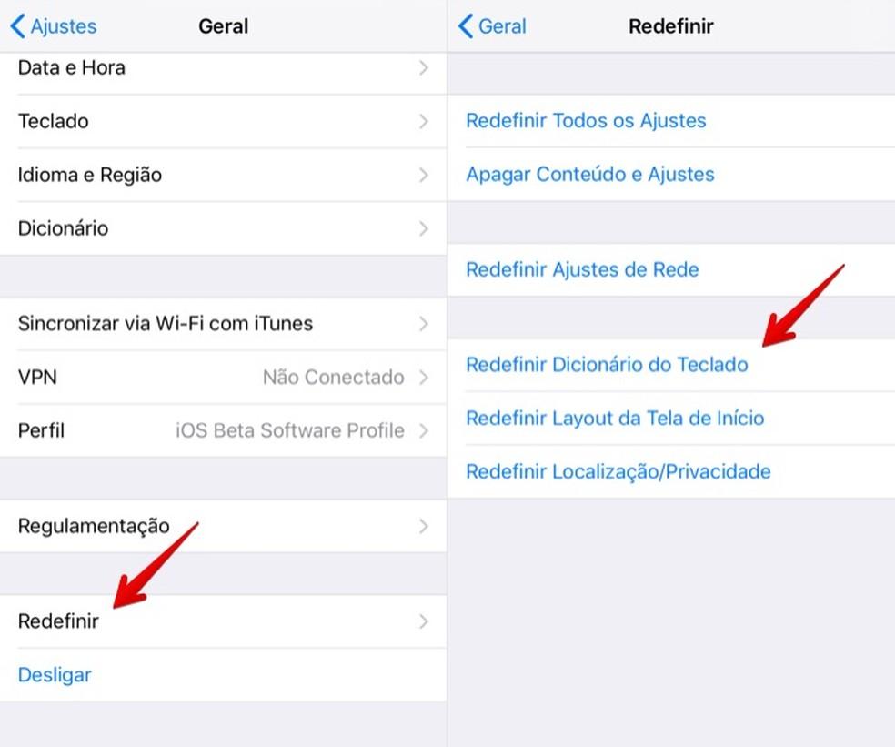 Redefinindo as configurações do teclado no iPhone (Foto: Reprodução/Helito Bijora)