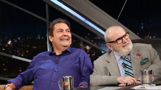 Faustão revela para Jô Soares que já foi coroinha: 'Foi ali que comecei a engordar'
