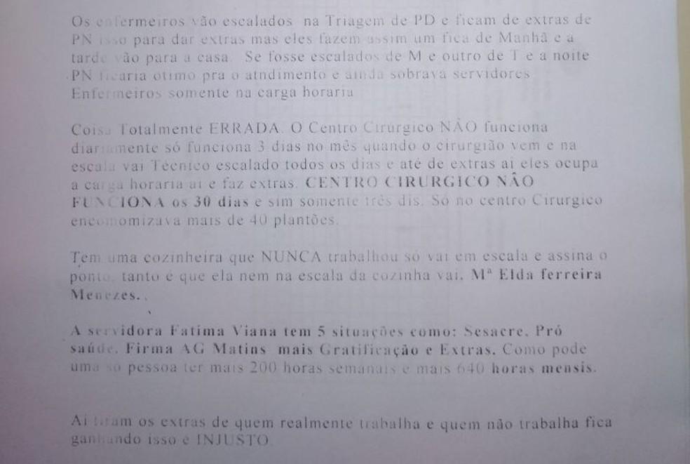 Ofício com denúncias foi entregue na Secretaria de Estado de Saúde do Acre  (Foto: Divulgação)