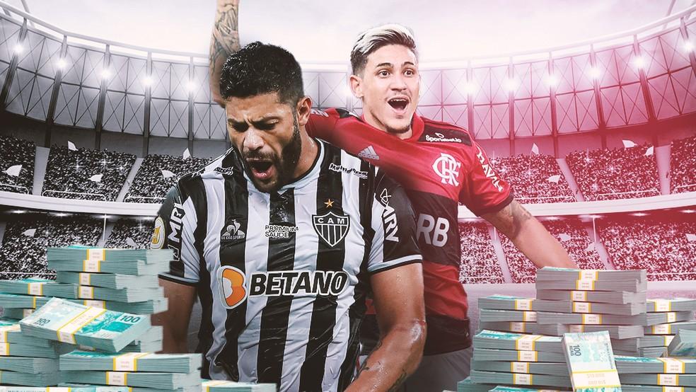 Hulk e Pedro duelam no Atlético x Flamengo desta quarta — Foto: ge