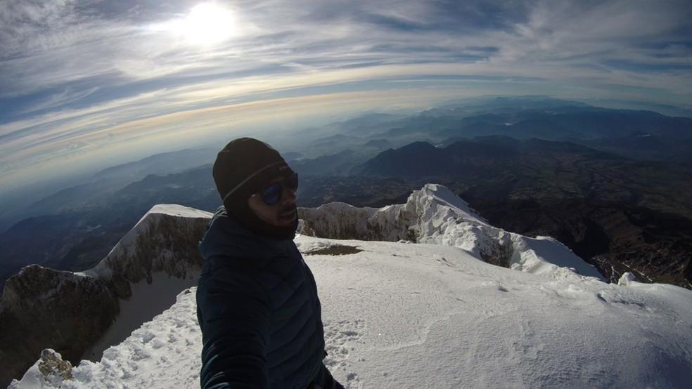Bruno Reis, de Pouso Alegre (MG), subiu ao topo da maior montanha do México. (Foto: Arquivo Pessoal)