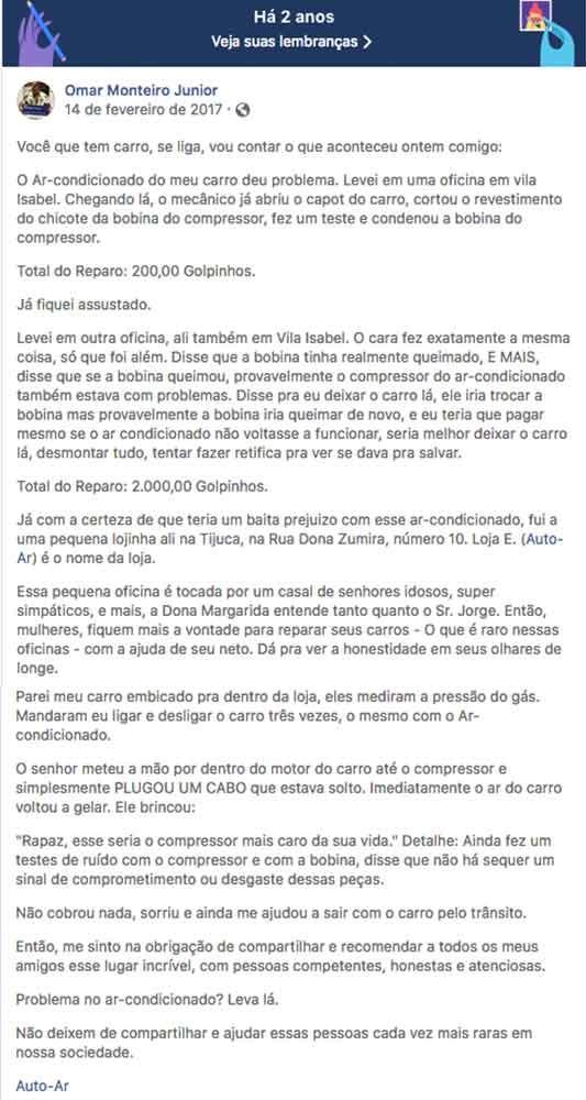 Primeira postagem de Monteiro sobre a oficina Ar-Auto (Foto: Reprodução/Facebook)