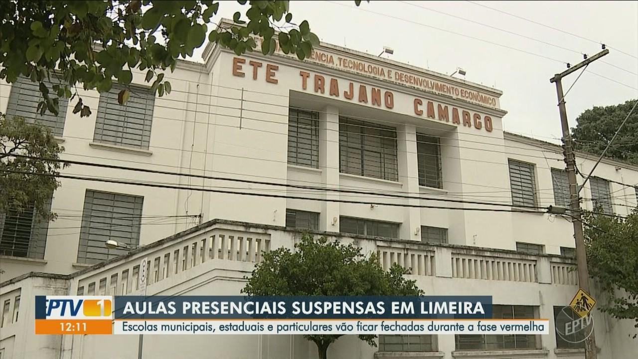 Limeira aumenta restrições do governo estadual e suspende aulas presenciais