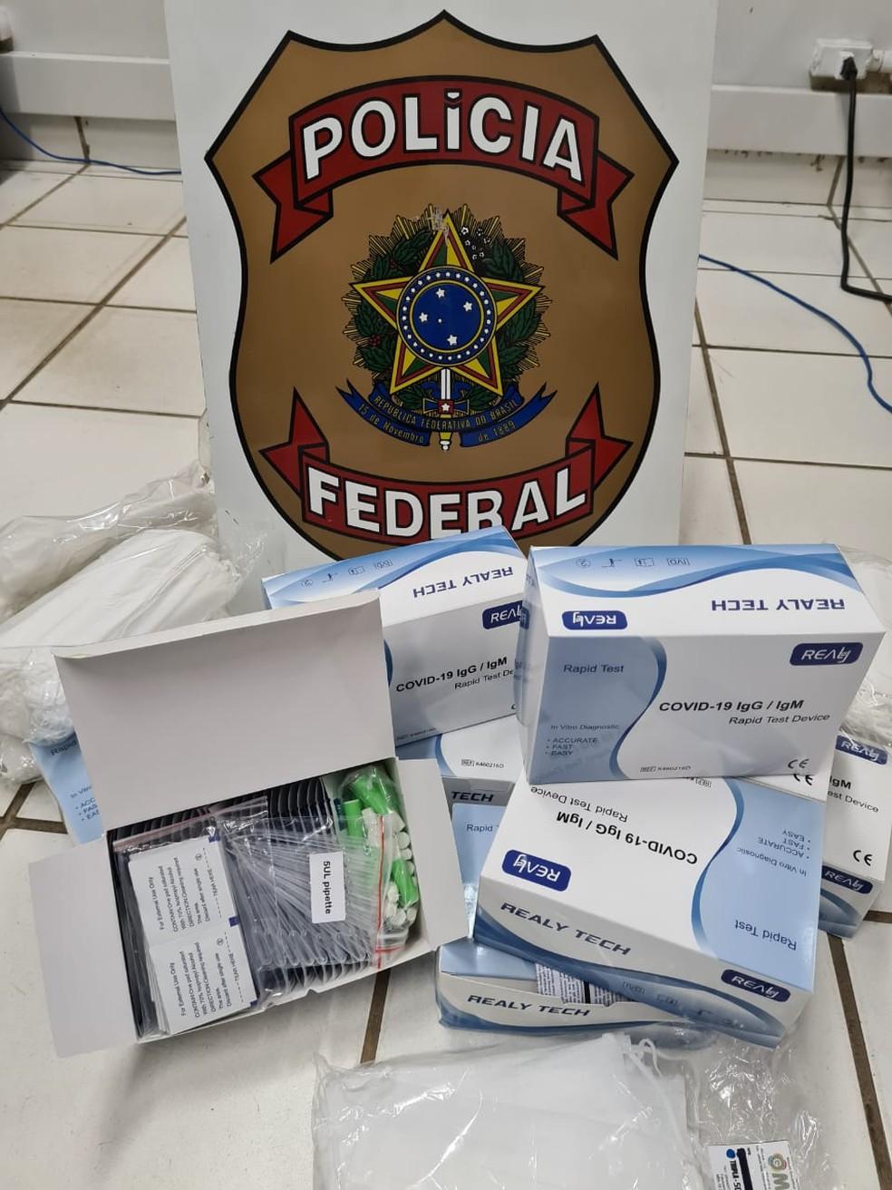 Testes para Covid-19 apreendidos em Porto Velho durante Operação Polígrafo  — Foto: PF/Divulgação