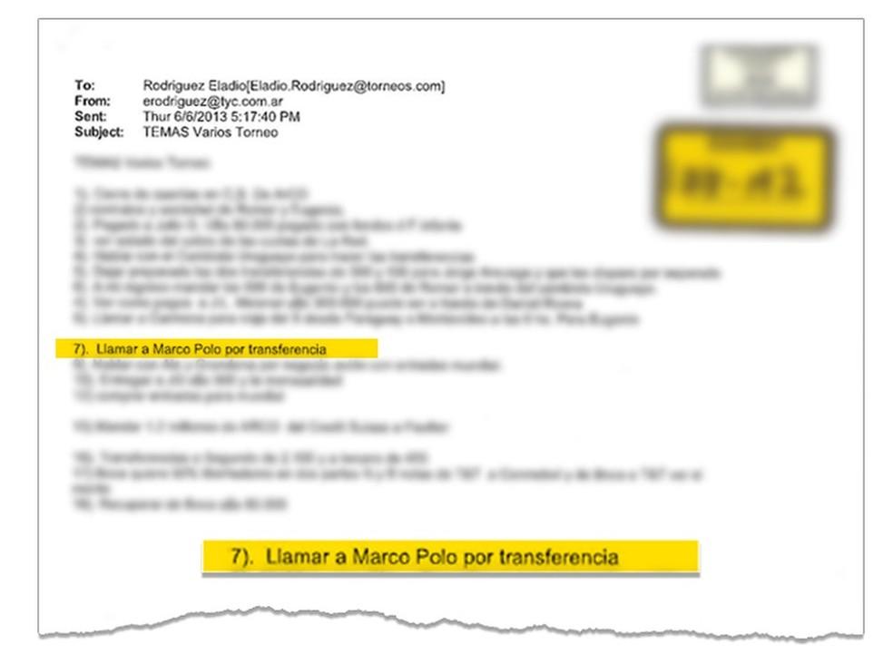 """Lista de tarefas de Eladio Rodriguez, executivo da Torneos, previa """"Ligar para Marco Polo sobre transferência""""  (Foto: Reprodução)"""
