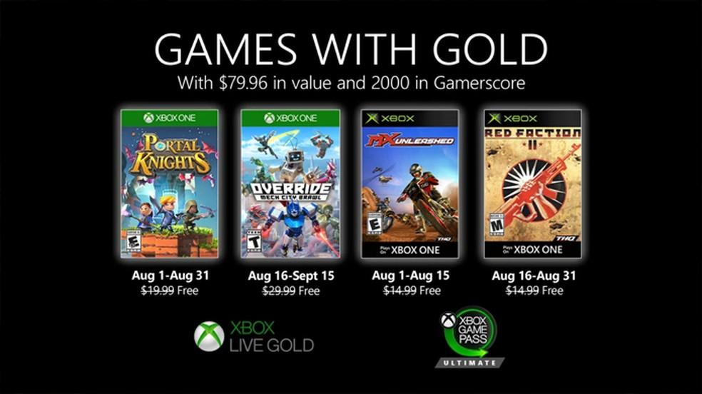 Games with Gold de agosto traz Portal Knights e Override: Mech City Brawl gratuitos para o Xbox One — Foto: Reprodução/Xbox