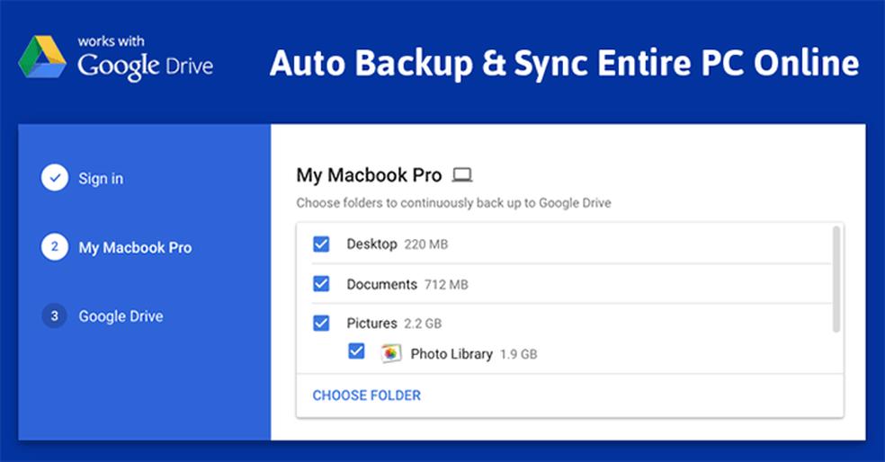 Se desejar, e tiver armazenamento para tanto, usuário pode fazer backup e manter dados sincronizados de todo o PC (Foto: Divulgação/Google)