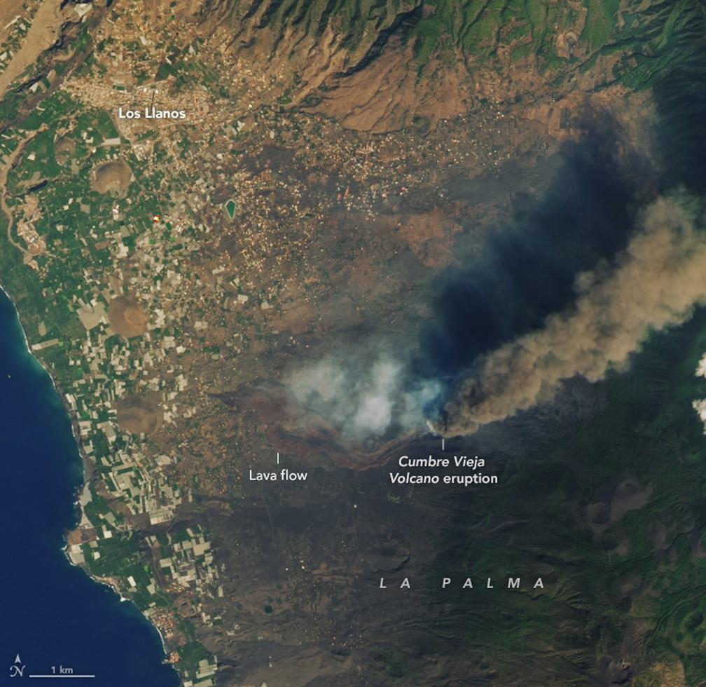 MAIS PERTO - Imagem feita pelo satélite Landsat 8 e pelo Earth Observatory, da agência especial americana, de 26 de setembro  — Foto: Landsat 8/Earth Observatory/Nasa