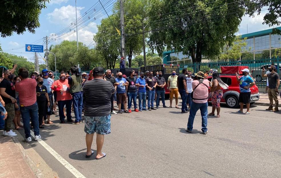 Ato aconteceu na manhã desta quinta-feira (24). — Foto: Carolina Diniz/G1 AM