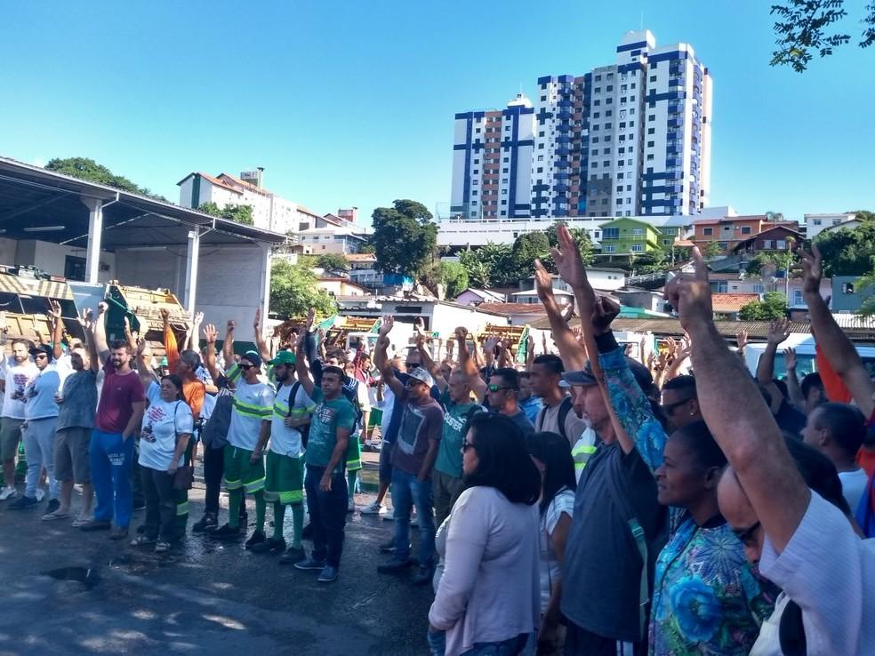 a9df4860b ... Assembleia na Comcap na manhã desta quarta-feira — Foto: Sintrasem /  Divulgação