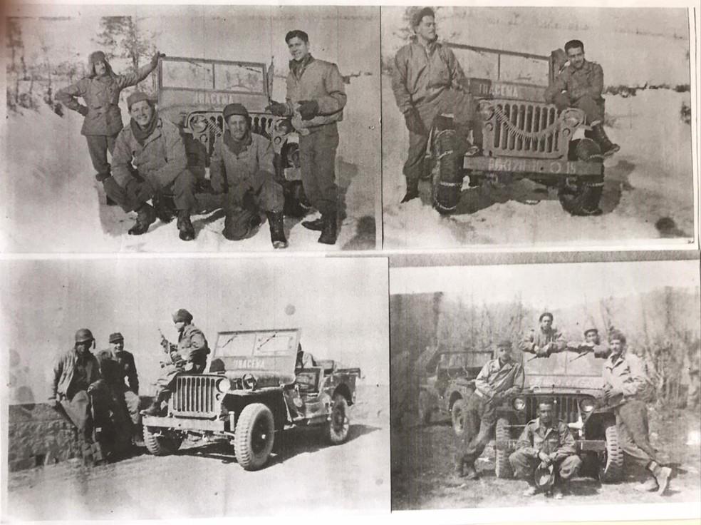 Expedicionários durante o Natal de 1944 na Itália; Dúlio Lopes é o soldado que está agachado em frente ao jipe, na foto do canto inferior direito — Foto: Francisco Lopes/Arquivo Pessoal