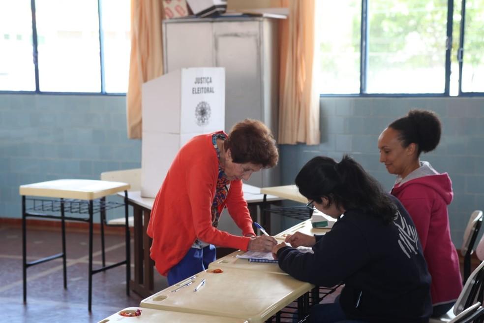 A aposentada Lúcia Helena Werneck, de 86 anos faz questão de votar neste domingo.  — Foto: Maurício Duch/G1