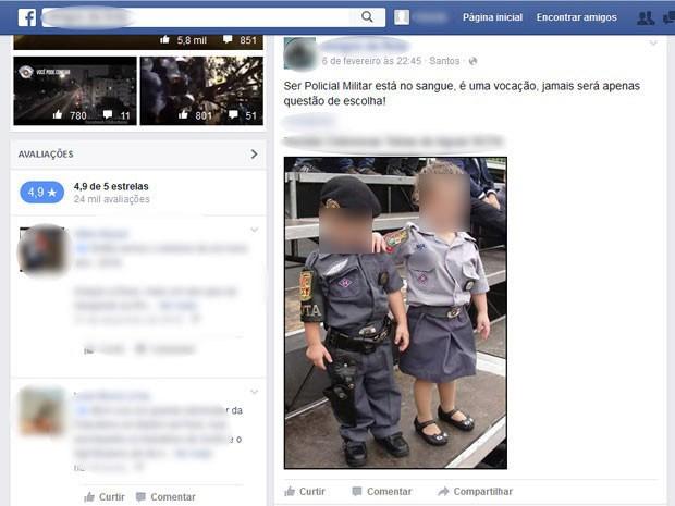 Crianças posam para foto que foi enviada para rede social de comunidades simpatizantes de militares  (Foto: Reprodução / Facebook)