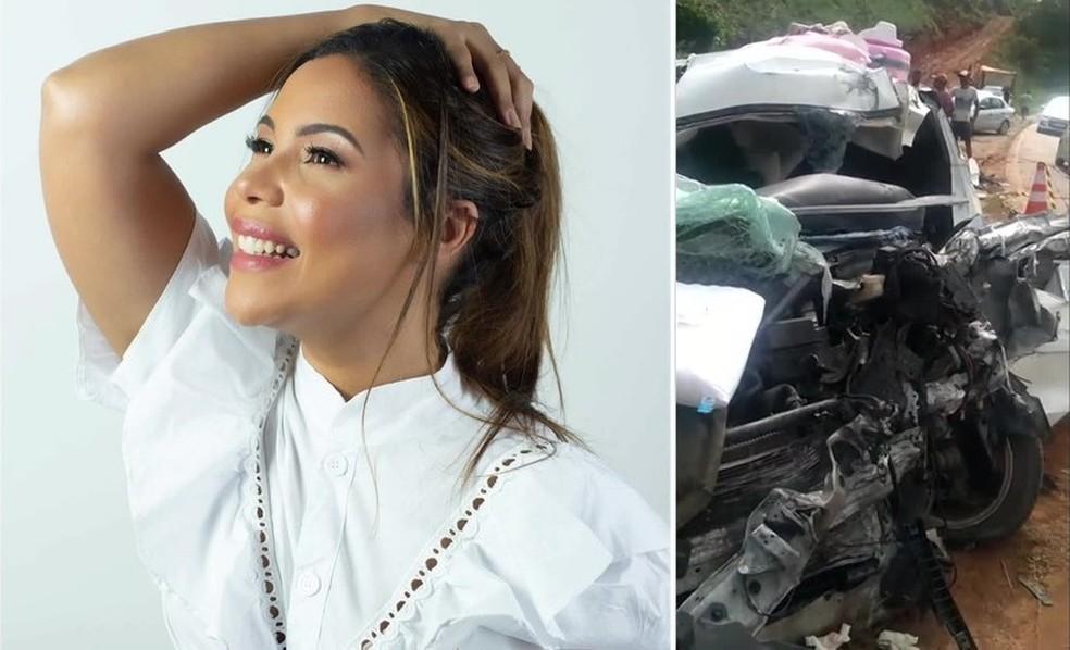 Cantora gospel Amanda Wanessa sofreu acidente na PE-60, na Zona da Mata Sul, e veículo em que estava ficou destruído, na segunda-feira (4) — Foto: Arte/G1