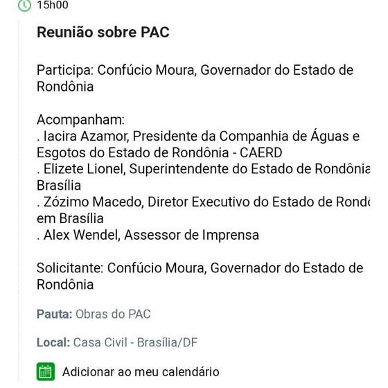Apesar da orientação de substituir a marca PAC por Avançar, Casa Civil se engana sobre programas na agenda do ministro Eliseu Padilha (Foto: Reprodução)