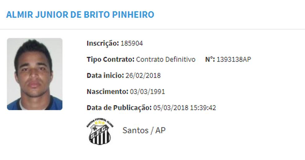 Almir Júnior tem nome publicado do BID da CBF (Foto: Reprodução)