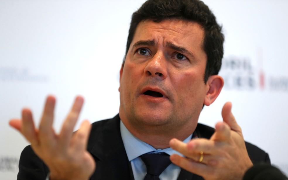 O ministro da Justiça, Sergio Moro, durante conferência em Portugal no final de maio — Foto: Rafael Marchante/Reuters