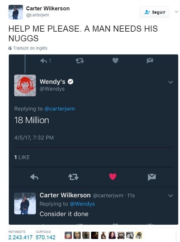 Carter já obteve mais de 2,2 milhões de RTs