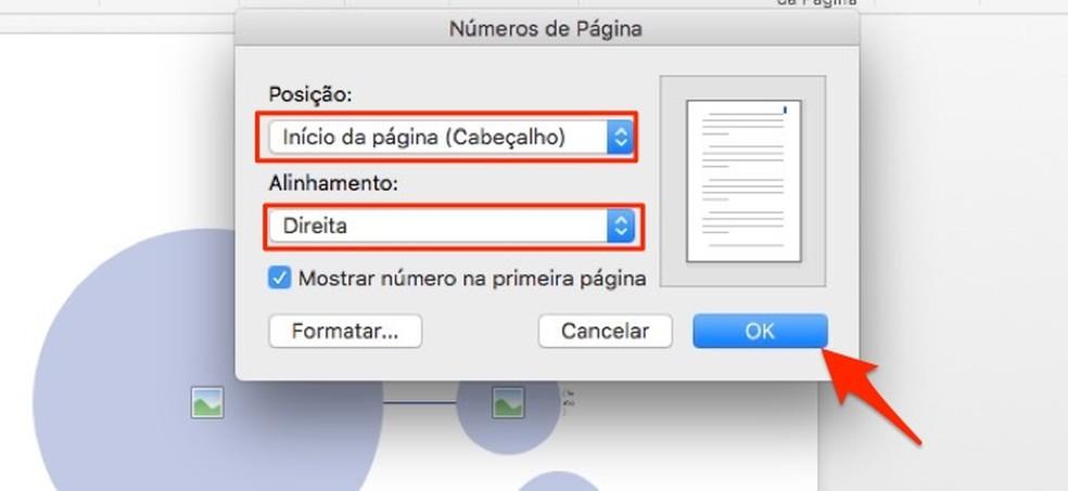 Ação para definir o local da páginação de um documento no Microsoft Word — Foto: Reprodução/Marvin Costa