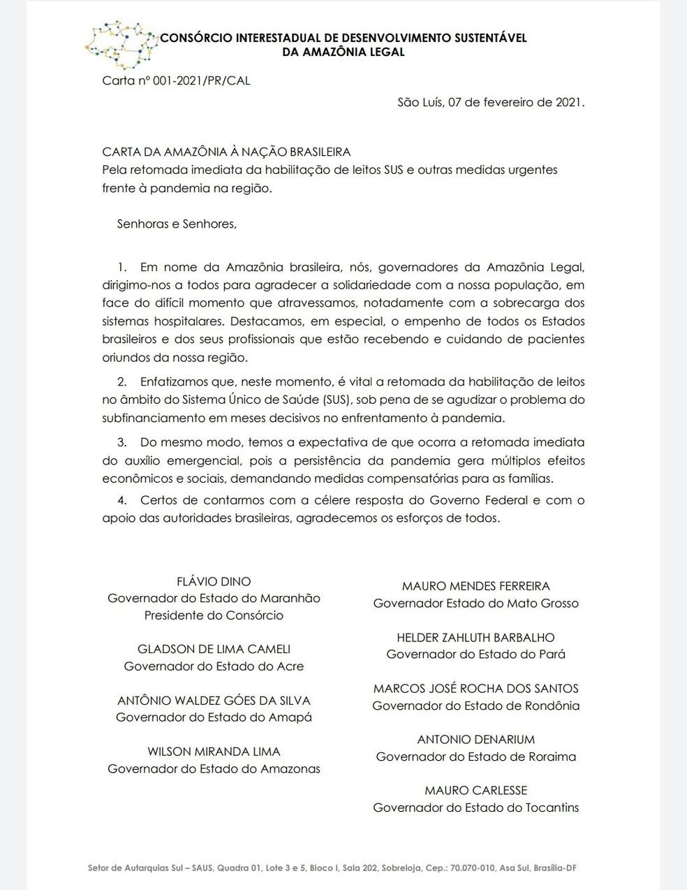 Governadores da Amazônia Legal cobram habilitação de leitos da Covid-19 e retorno de auxílio emergencial — Foto: Twitter/Reprodução